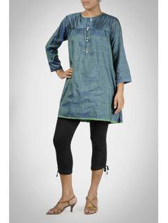 Green Ikat Silk Tunic