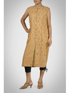 Yellow Cotton Kalamkari LongTunic