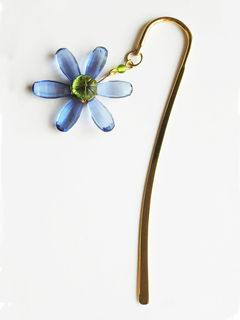 Elegant Brass Bookmark- Daisy Flower- Blue