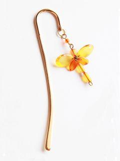 Elegant Brass Bookmark- Dragonfly Tiny- Yellow