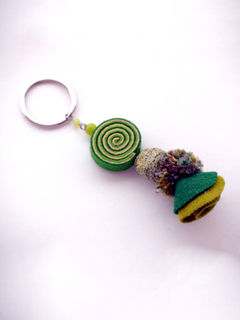 Psychedelic Doll Keychain - Green