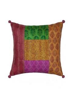 Multicolour Kantha Block printed Cushion Cover