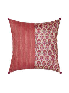 Red Half/Half Kantha Block printed Cushion Cover