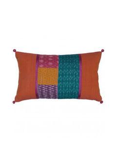 Orange Mid Patch Kantha  Block printed Cushion Cover