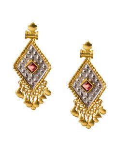 Engraved two-tone diamond shape  silver bali
