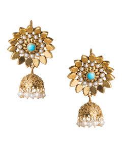 Turquoise Karnaphool Gold Plated Silver Jhumki