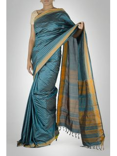 Blue Striped Silk Saree