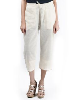 Mangalgiri Cotton Ankle Length Pants With Embroidery in Off White