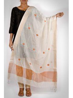 white handwoven maheshwari dupatta