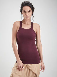 Maroon Racer Back Tank Top