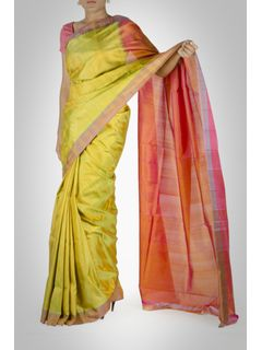 Green and Orange Silk Saree