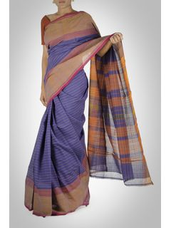 Purple Striped Cotton Saree