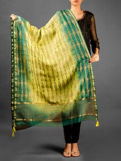 Zig-Zag Pattern Chanderi Duptta - Green And Light Green