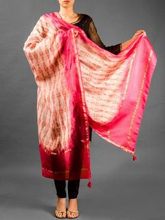Zig-Zag Pattern Chanderi Duptta - Pink And  Light Pink