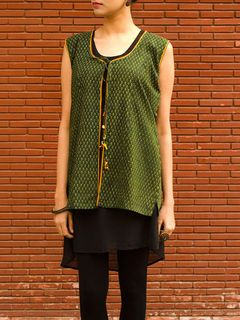 Sleeveless Shrug in Cotton Ajrak Print