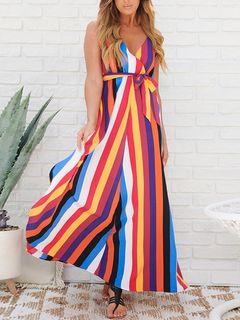 17635776c6a New Suave V Neck Contrast Color Striped Sleeveless Maxi Dress zoom