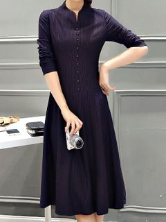 f1ead84a41 Sophisticated Premium Fabric and Fit Formal Stand Collar A-Line Long Dress  - Also In