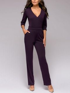 95626f29a5 Stylish V-Neck Solid Binding Pockets Fitted Jumpsuit