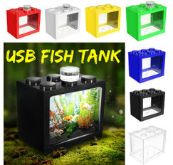 Mini Clear Goldfish Betta LED USB Fish Tank Ornament Aquarium Office Home Decor
