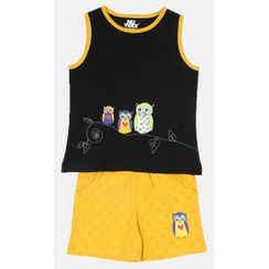 Nuteez Owls Tank Top & Shorts Set for Girls
