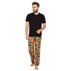 Plain Round Neck Tee & Retro metro-Men PJ Set