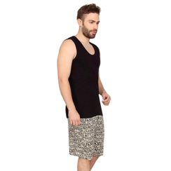 Plain Tank Top & Stronger at Night-Men Shorts Set