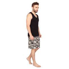 Plain Tank Top & Bad Boy Robo-Men Shorts Set