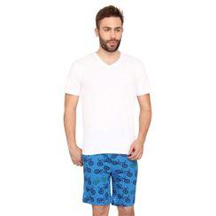 Plain Vneck Tee & Cycle-Men Shorts Set