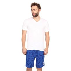 Plain Vneck Tee & Anchor-Men Shorts Set