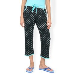 Blue & Black Polka Capri
