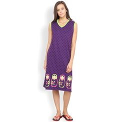 Nuteez Doll  V-neck Nightdress for women