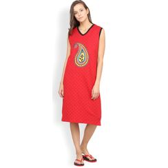 Nuteez Paisley  V-neck Nightdress for women