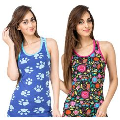 Paws & Flower Power -Women Sporty Tank Combo
