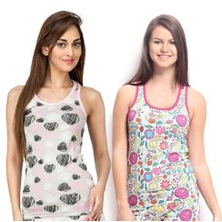 Hearts & Flower Power-Women Sporty Tank Combo