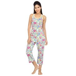 Flower Power -Women Sporty Tank Capri Set