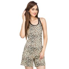 Leopard-Women Sporty Tank Shorts Set