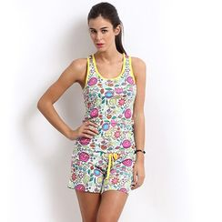 Flower Power-Women Sporty Tank Shorts Set
