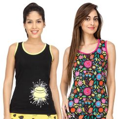 Flower Power & I Am Freak-Women Tank Top Combo