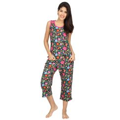 Flower Power -Women Tank Top Capri Set
