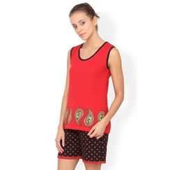 Nuteez Paisley  tank top & shorts set for women