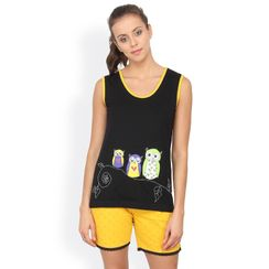 Nuteez Owls  tank top & shorts set for women