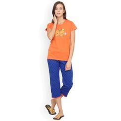 Nuteez Cute C  tee & capri set for women