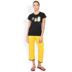 Nuteez Owls  Tee & Capri Set for women