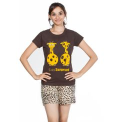 Stay Surprised & Leopard -Women Tee and Shorts Set