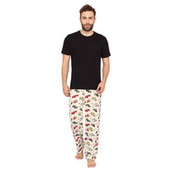 Plain Round Neck Tee & Drive away-Men PJ Set