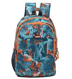 F Gear Castle Printed P3 Orange 27 Liters Backpack Sch Bag