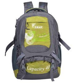 F Gear Firefly V2 Laptop Rucksack 40 Liters (Grey, Green) Sch Bag