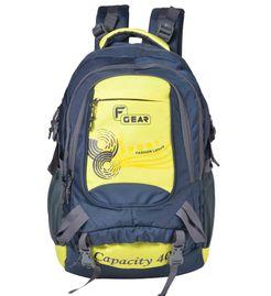 F Gear Firefly V2 Laptop Rucksack 40 Liters (Navy blue, Yellow) Sch Bag
