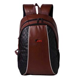 F Gear Carlton V2 Leather 27 Liters Laptop Backpack Sch Bag (Brown)