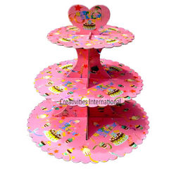 Pink Happy birthday Cardboard Cupcake Stand